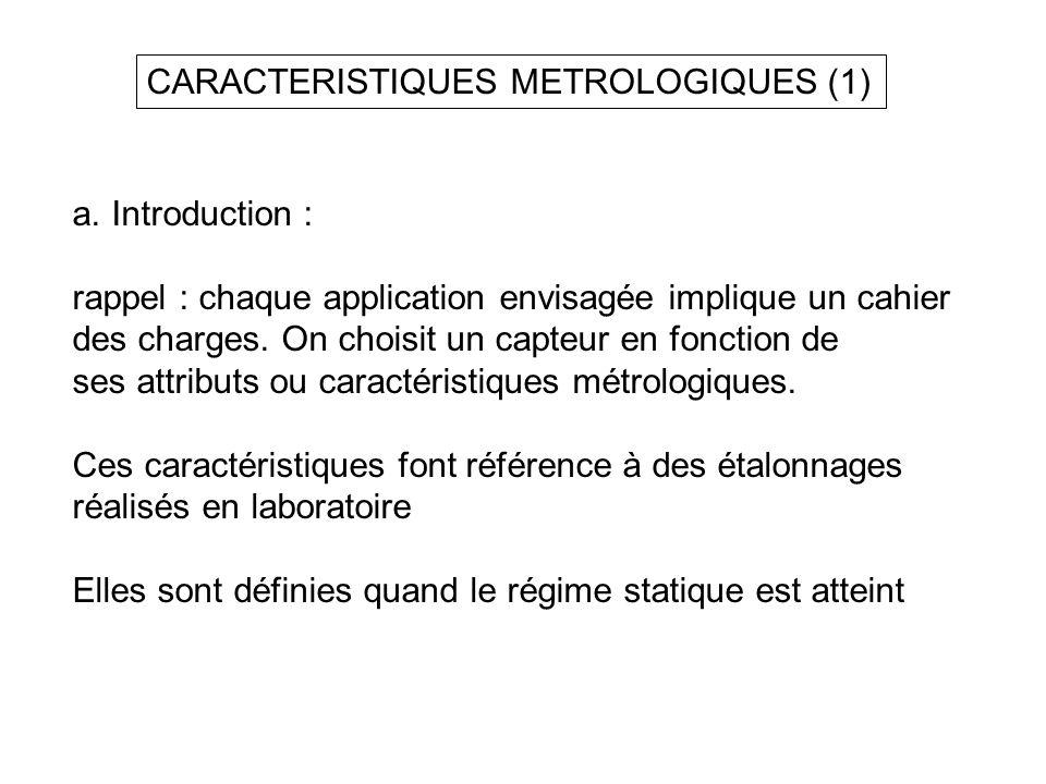 CARACTERISTIQUES METROLOGIQUES (1)