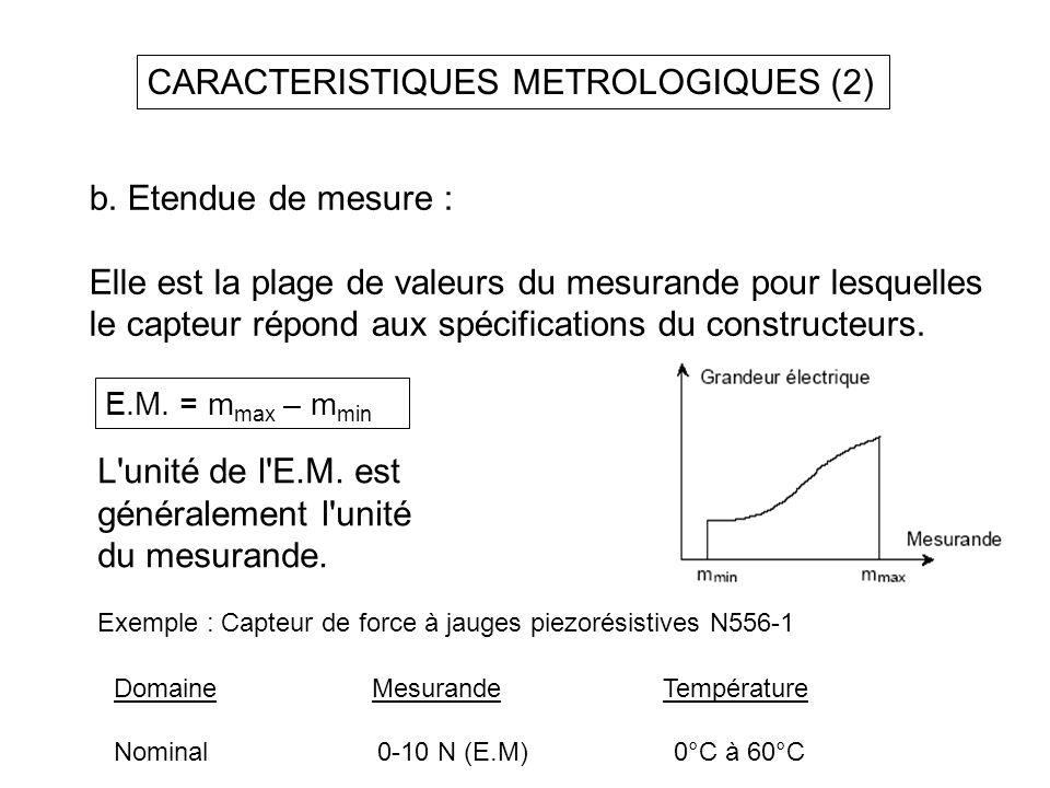 CARACTERISTIQUES METROLOGIQUES (2)