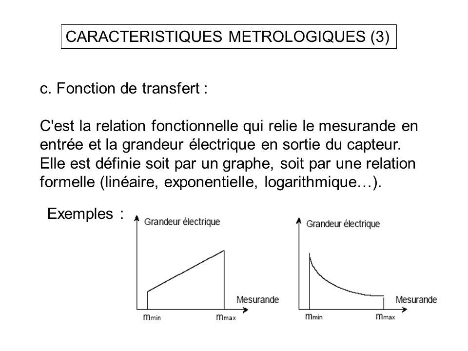 CARACTERISTIQUES METROLOGIQUES (3)