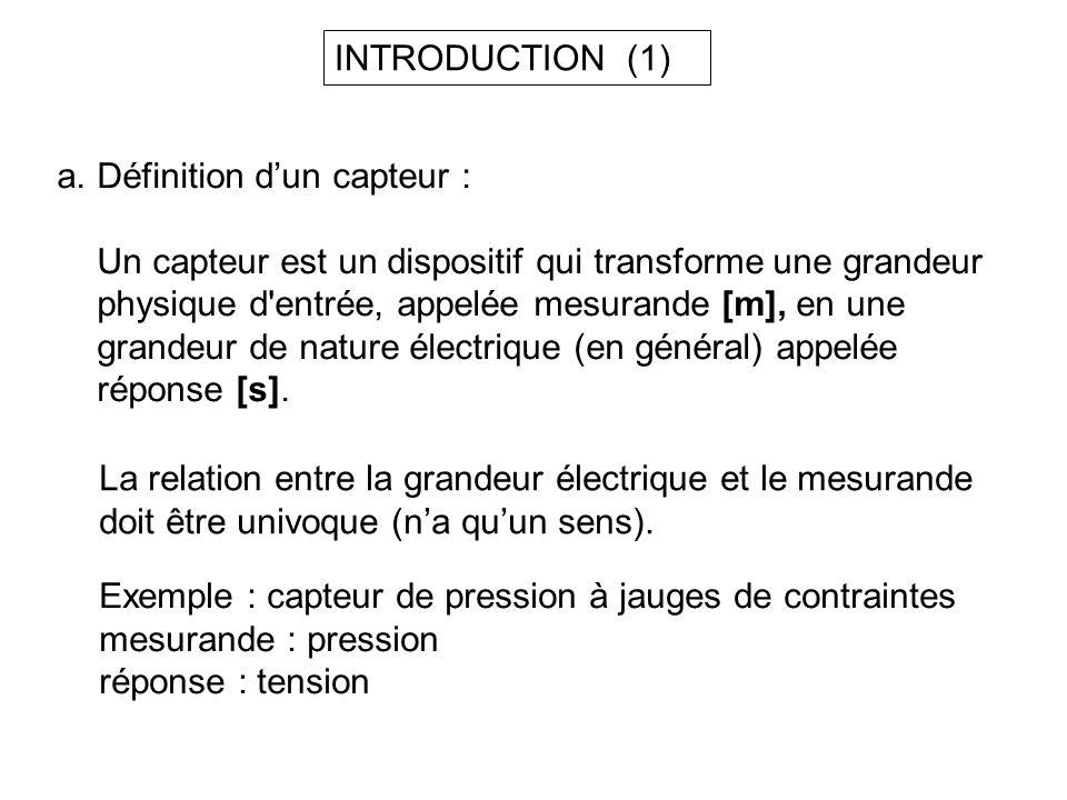 INTRODUCTION (1) Définition d'un capteur :