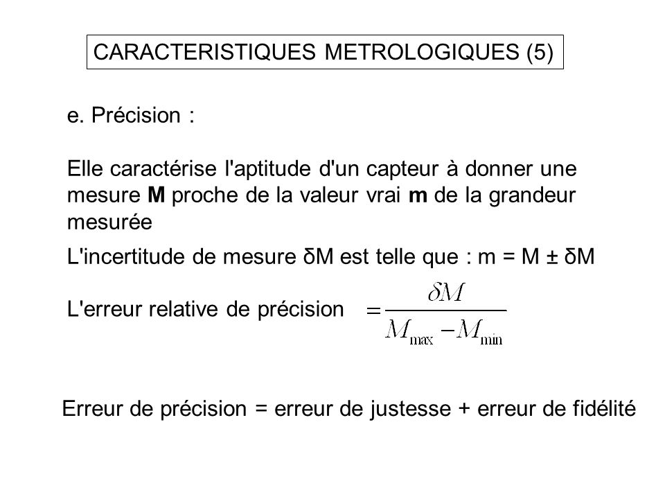 CARACTERISTIQUES METROLOGIQUES (5)