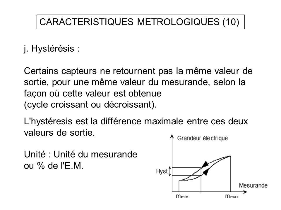 CARACTERISTIQUES METROLOGIQUES (10)