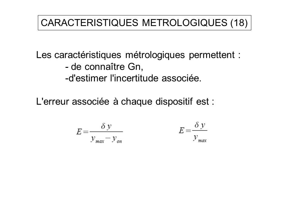 CARACTERISTIQUES METROLOGIQUES (18)