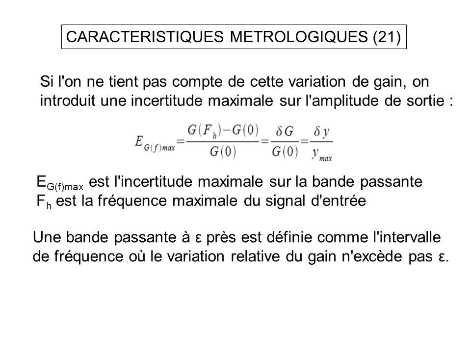 CARACTERISTIQUES METROLOGIQUES (21)