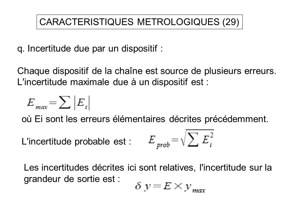 CARACTERISTIQUES METROLOGIQUES (29)