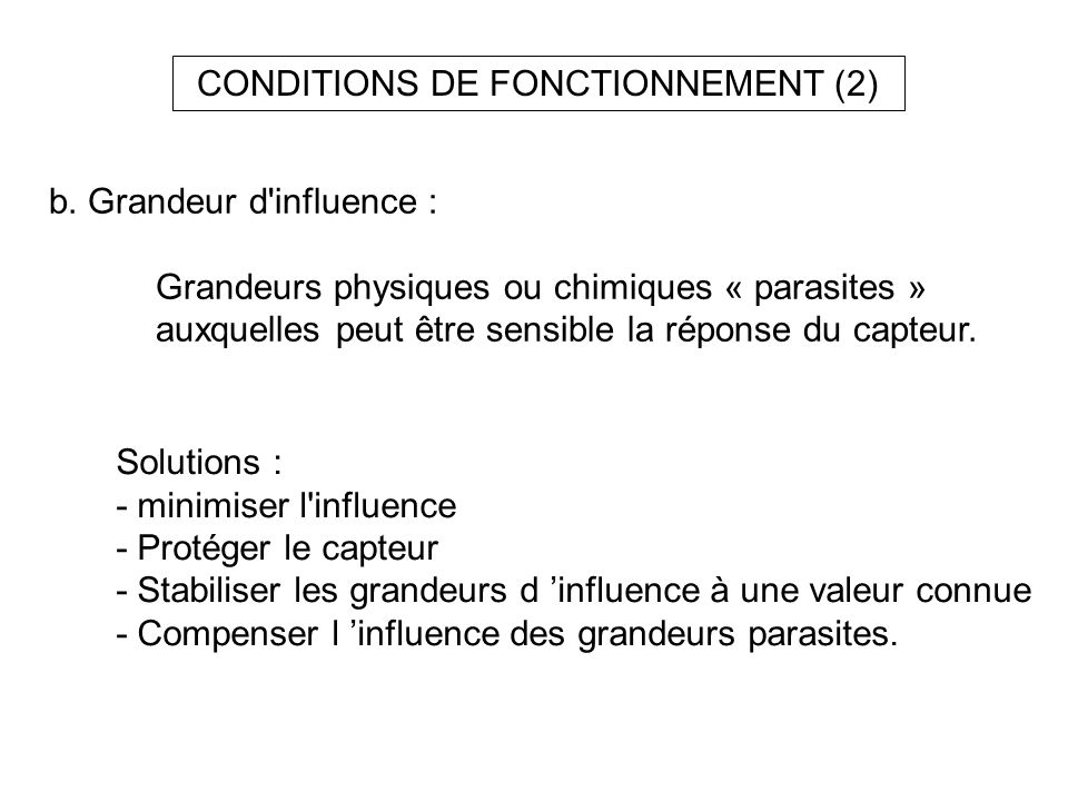 CONDITIONS DE FONCTIONNEMENT (2)