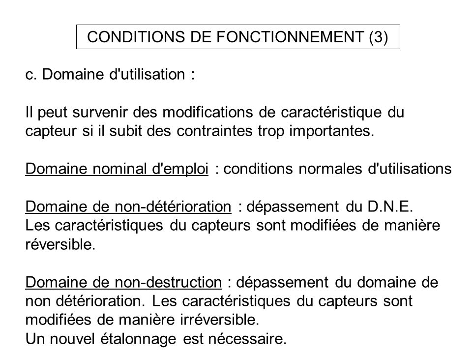 CONDITIONS DE FONCTIONNEMENT (3)