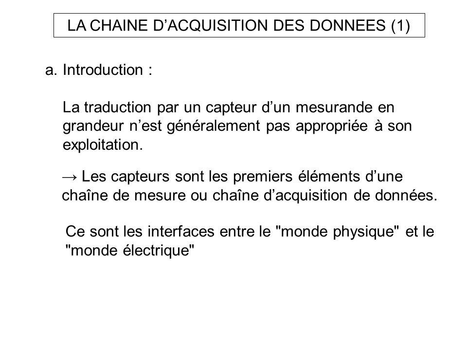 LA CHAINE D'ACQUISITION DES DONNEES (1)