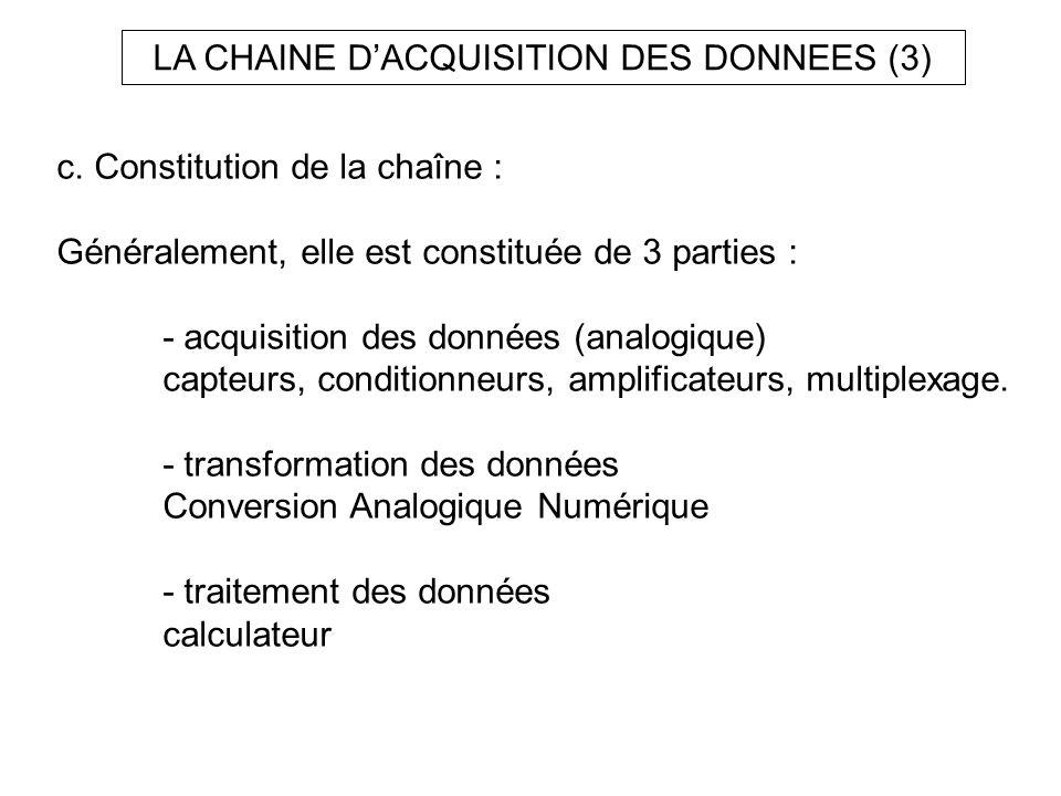 LA CHAINE D'ACQUISITION DES DONNEES (3)