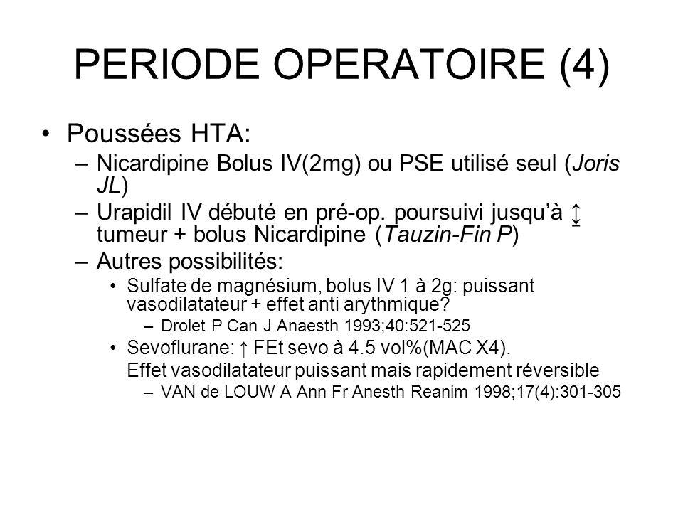 PERIODE OPERATOIRE (4) Poussées HTA: