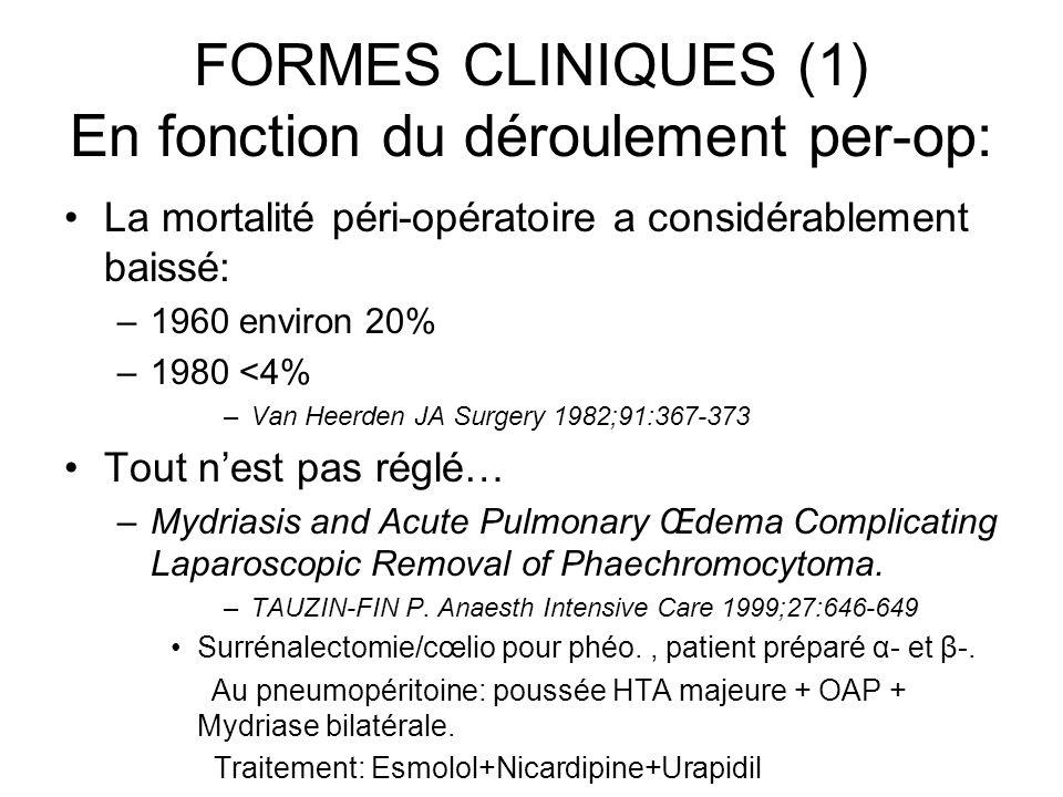FORMES CLINIQUES (1) En fonction du déroulement per-op: