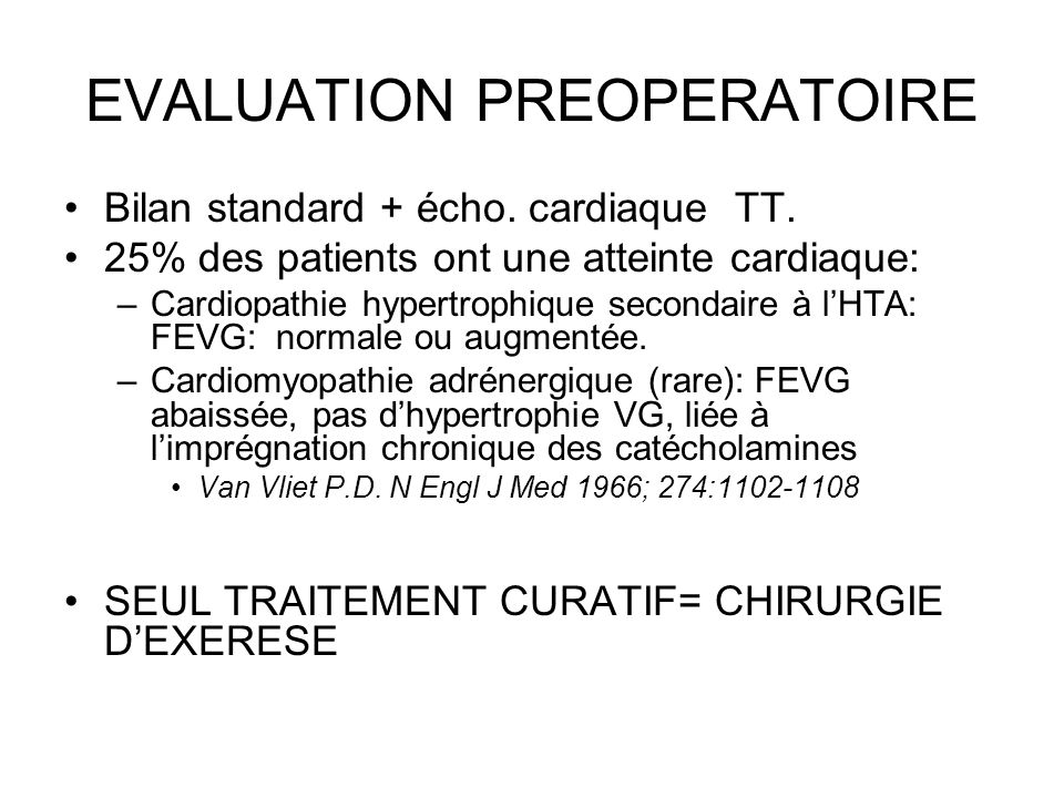 EVALUATION PREOPERATOIRE