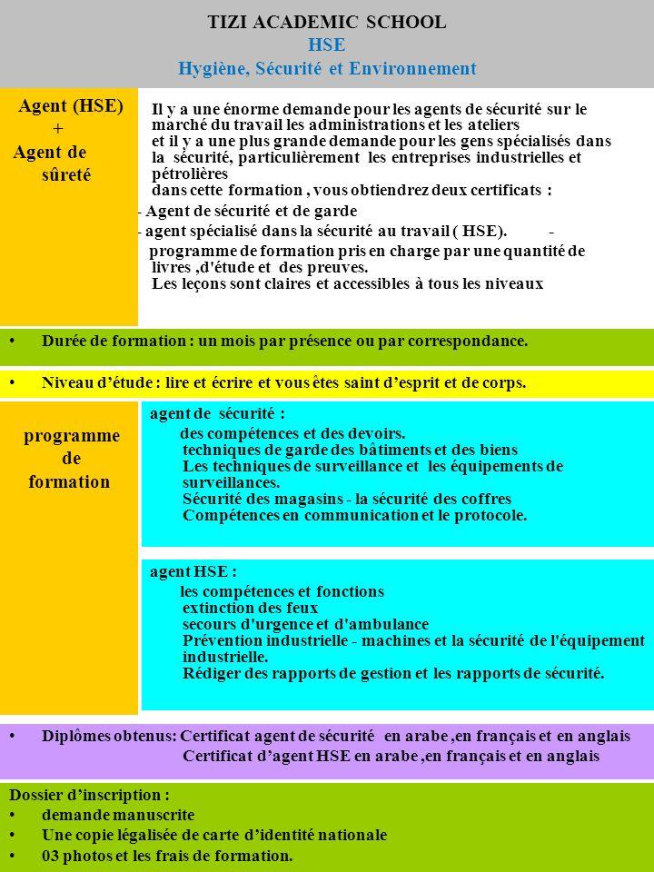 TIZI ACADEMIC SCHOOL HSE Hygiène, Sécurité et Environnement