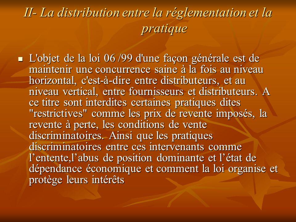 II- La distribution entre la réglementation et la pratique