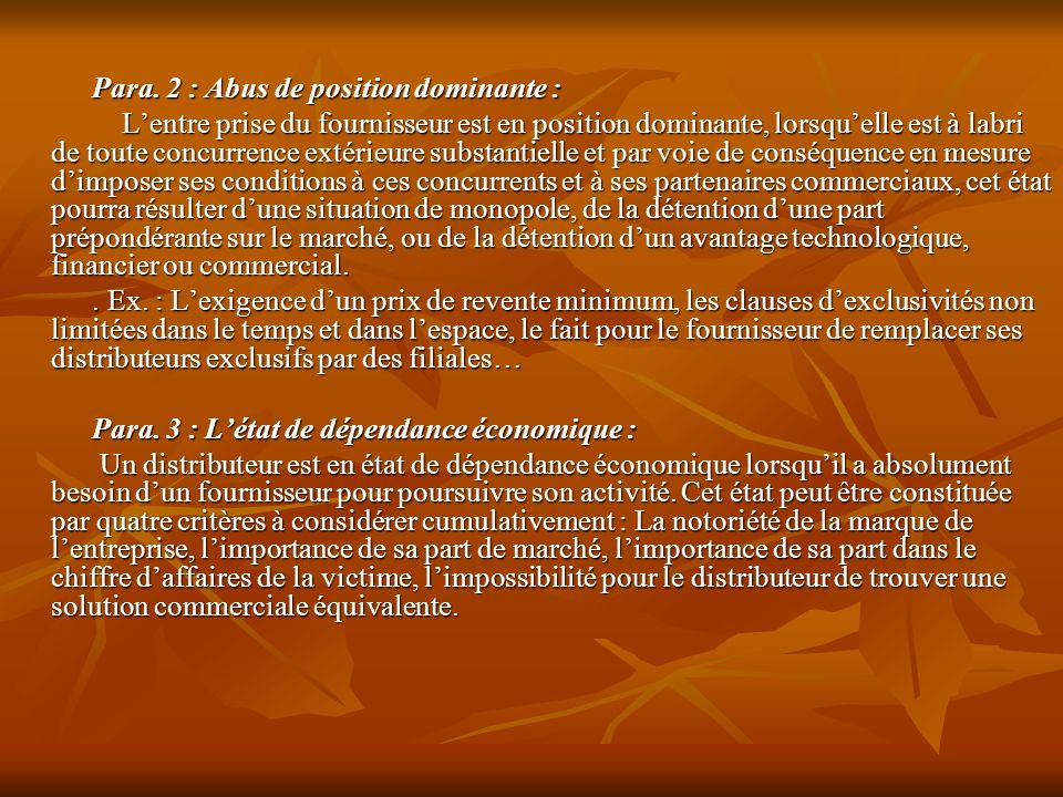 Para. 2 : Abus de position dominante :