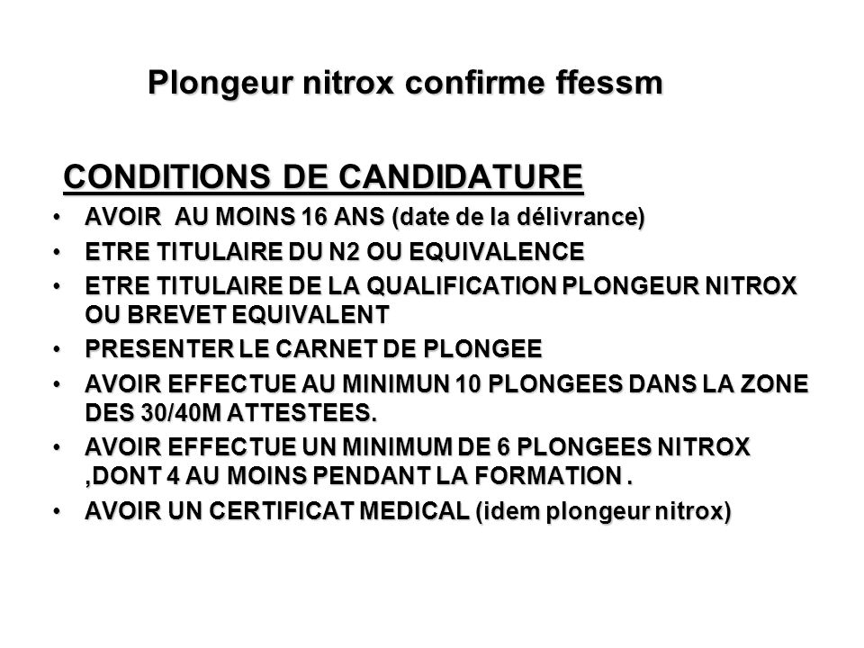 Plongeur nitrox confirme ffessm