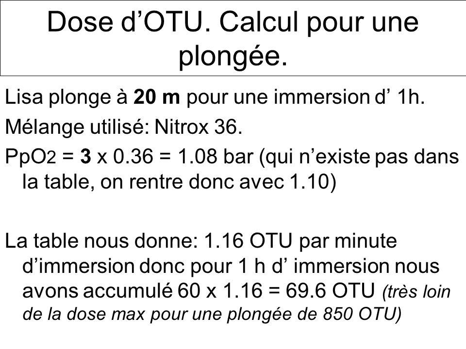Dose d'OTU. Calcul pour une plongée.