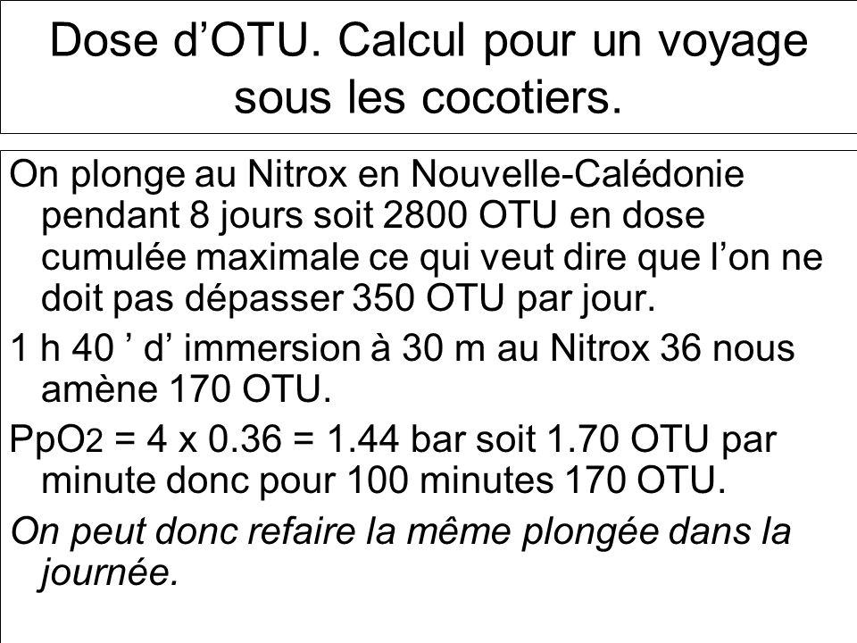 Dose d'OTU. Calcul pour un voyage sous les cocotiers.