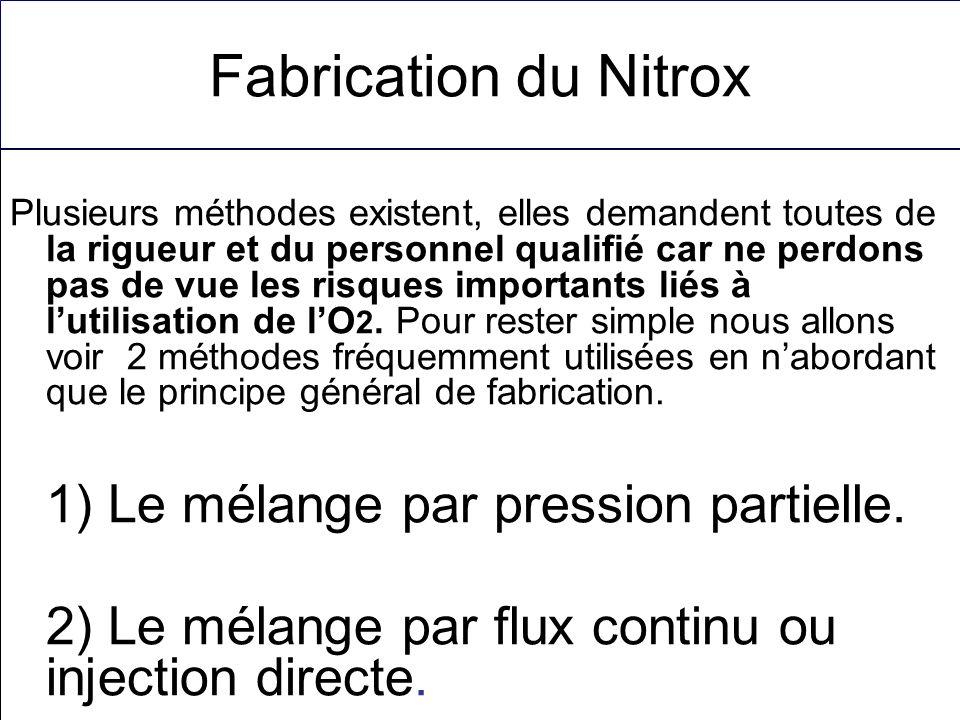 Fabrication du Nitrox 1) Le mélange par pression partielle.