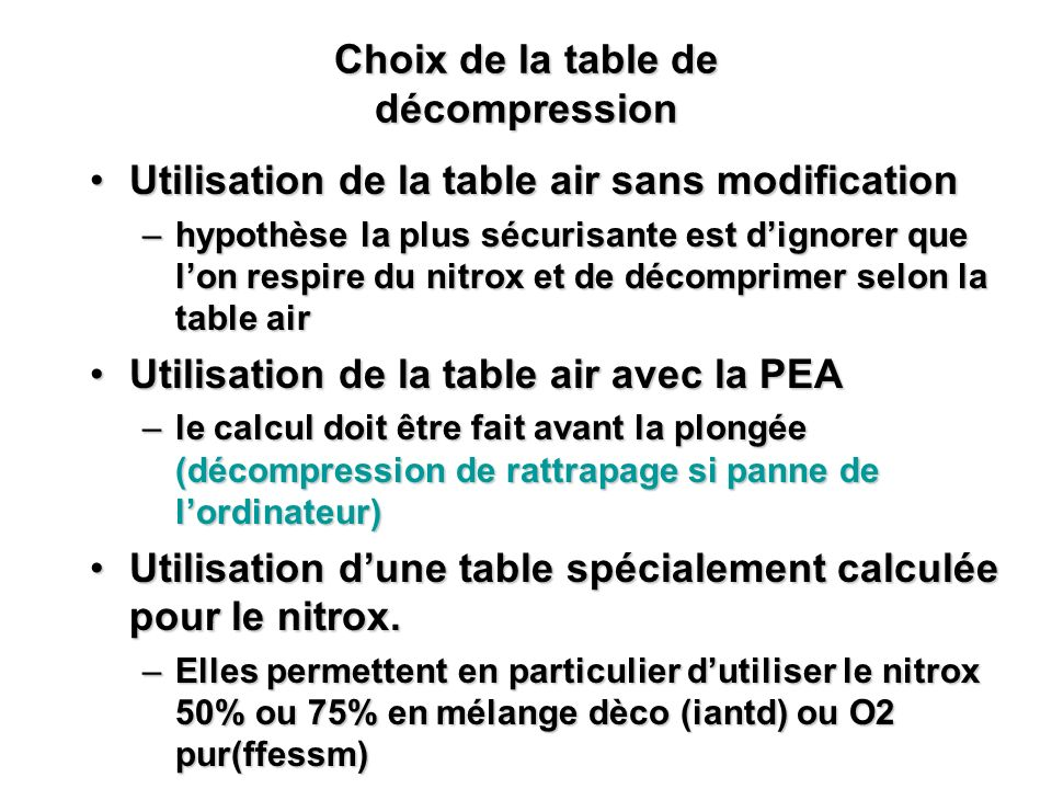 Choix de la table de décompression