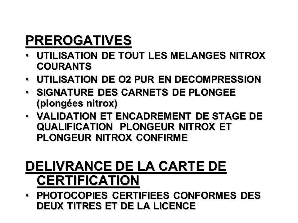 DELIVRANCE DE LA CARTE DE CERTIFICATION