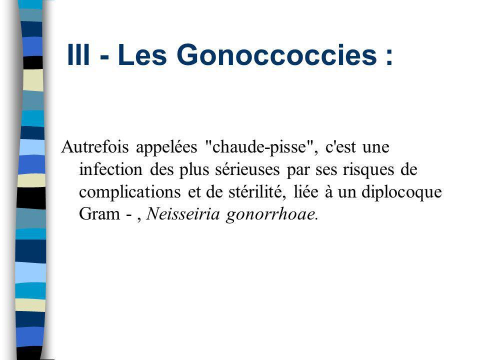 III - Les Gonoccoccies :
