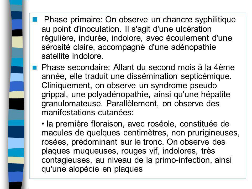 Phase primaire: On observe un chancre syphilitique au point d inoculation. Il s agit d une ulcération régulière, indurée, indolore, avec écoulement d une sérosité claire, accompagné d une adénopathie satellite indolore.