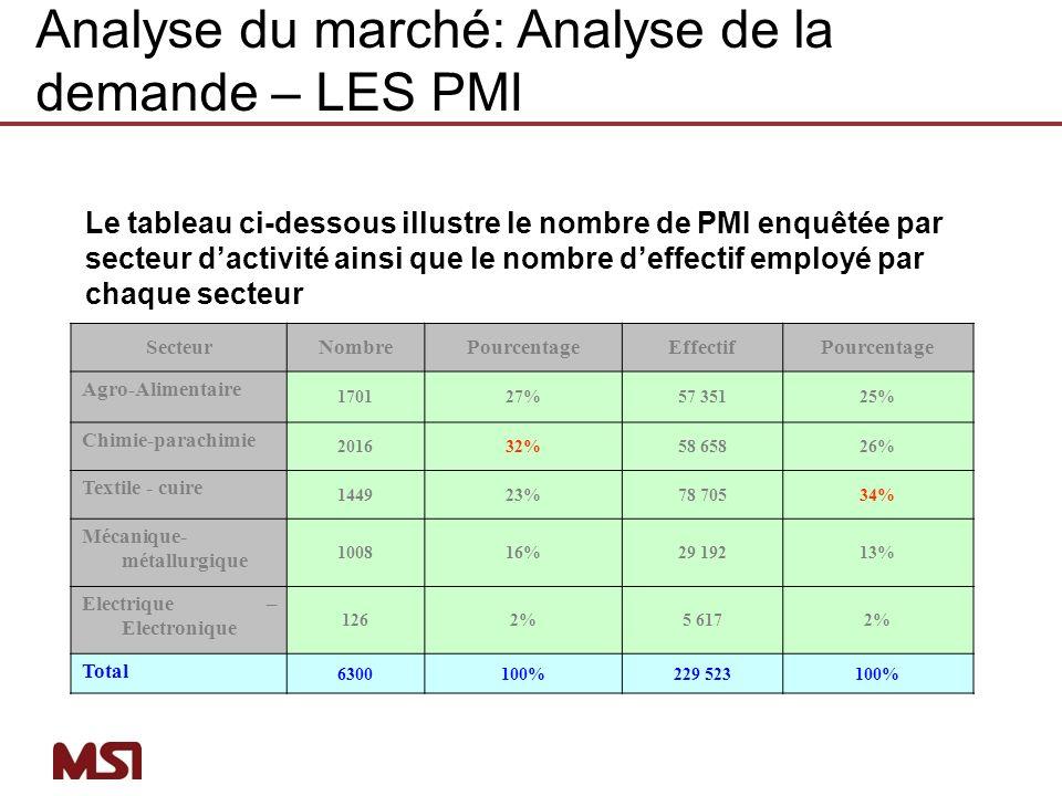 Analyse du marché: Analyse de la demande – LES PMI
