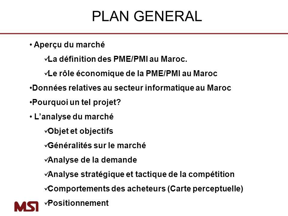 PLAN GENERAL Aperçu du marché La définition des PME/PMI au Maroc.