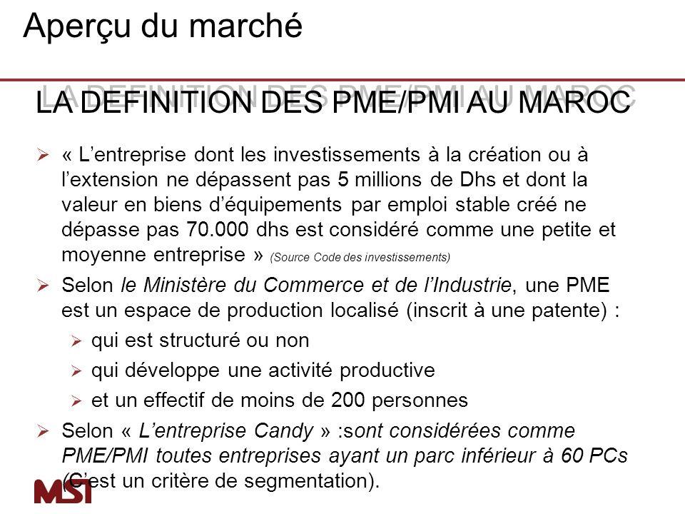 Aperçu du marché LA DEFINITION DES PME/PMI AU MAROC