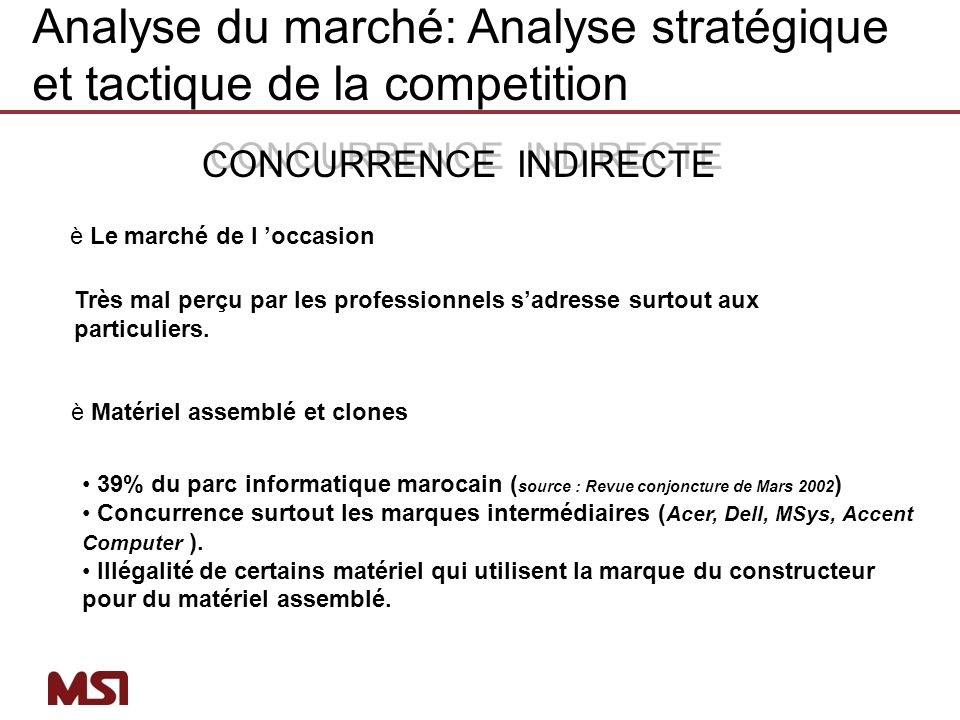 Analyse du marché: Analyse stratégique et tactique de la competition