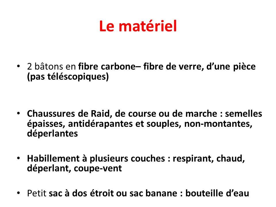 Le matériel2 bâtons en fibre carbone– fibre de verre, d'une pièce (pas téléscopiques)