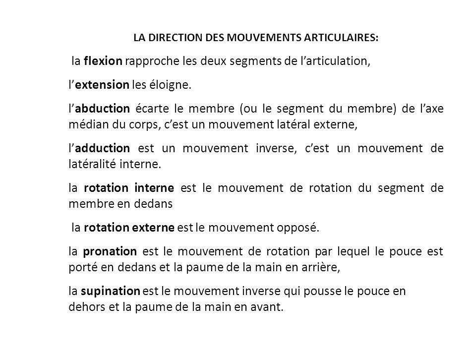 LA DIRECTION DES MOUVEMENTS ARTICULAIRES: