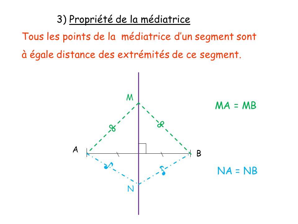 ♪ ♪ ∞ ∞ 3) Propriété de la médiatrice