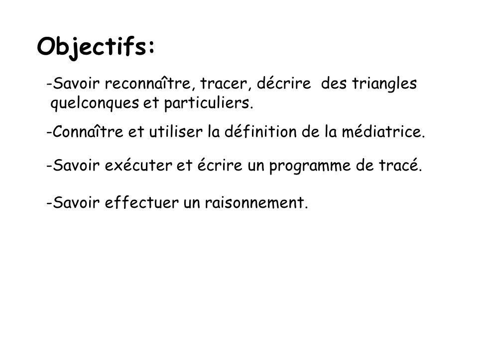 Objectifs: Savoir reconnaître, tracer, décrire des triangles
