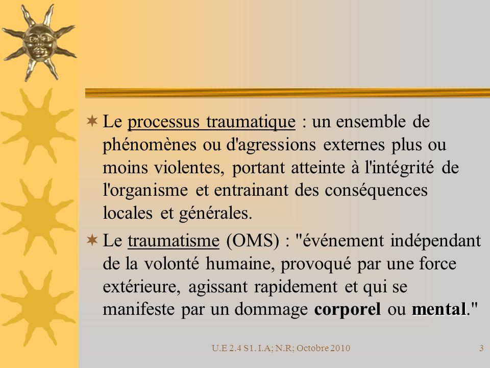 Le processus traumatique : un ensemble de phénomènes ou d agressions externes plus ou moins violentes, portant atteinte à l intégrité de l organisme et entrainant des conséquences locales et générales.