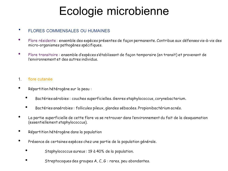 Ecologie microbienne FLORES COMMENSALES OU HUMAINES flore cutanée