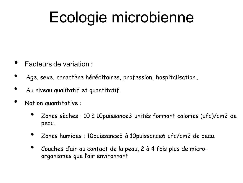 Ecologie microbienne Facteurs de variation :
