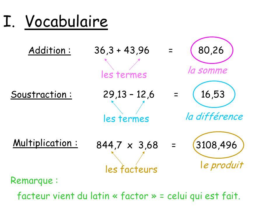 I. Vocabulaire Addition : 36,3 + 43,96 = 80,26 la somme les termes