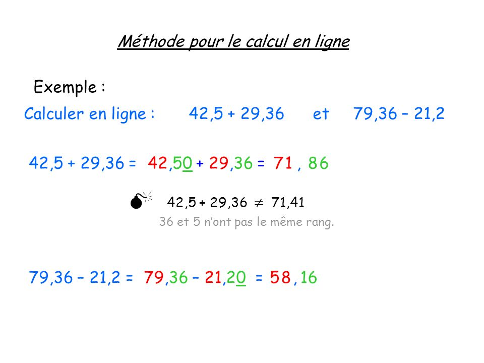  Méthode pour le calcul en ligne Exemple :