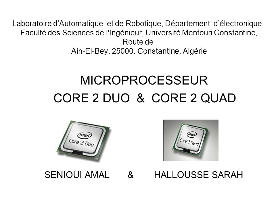 MICROPROCESSEUR CORE 2 DUO & CORE 2 QUAD