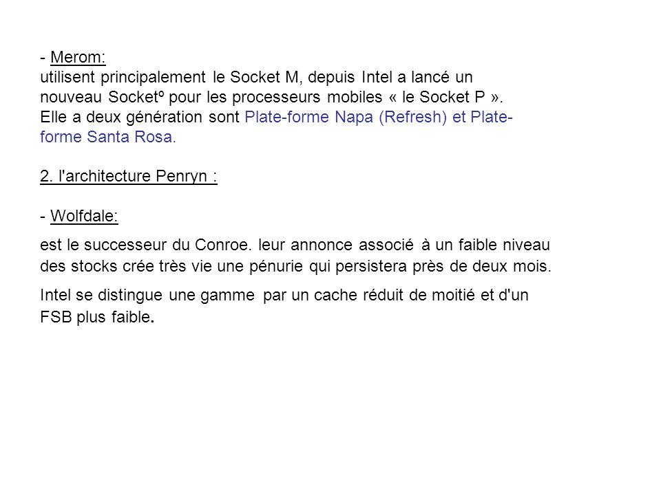 - Merom: utilisent principalement le Socket M, depuis Intel a lancé un. nouveau Socketº pour les processeurs mobiles « le Socket P ».