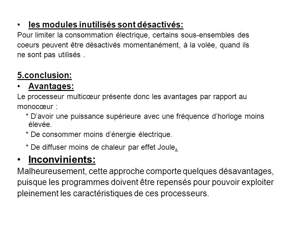 Inconvinients: les modules inutilisés sont désactivés: 5.conclusion: