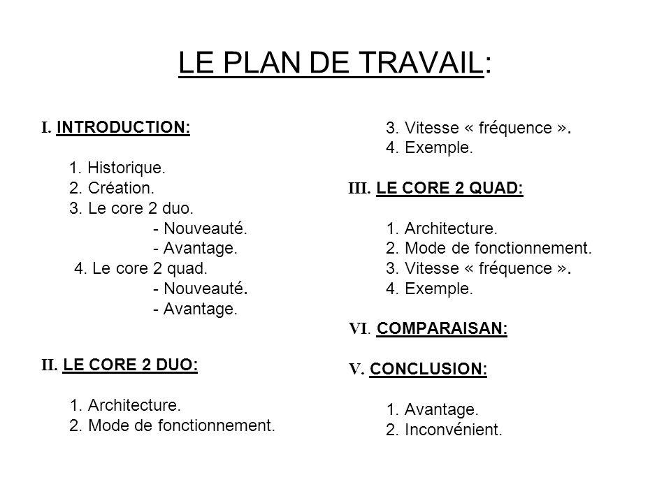 LE PLAN DE TRAVAIL: I. INTRODUCTION: 1. Historique. 2. Création.