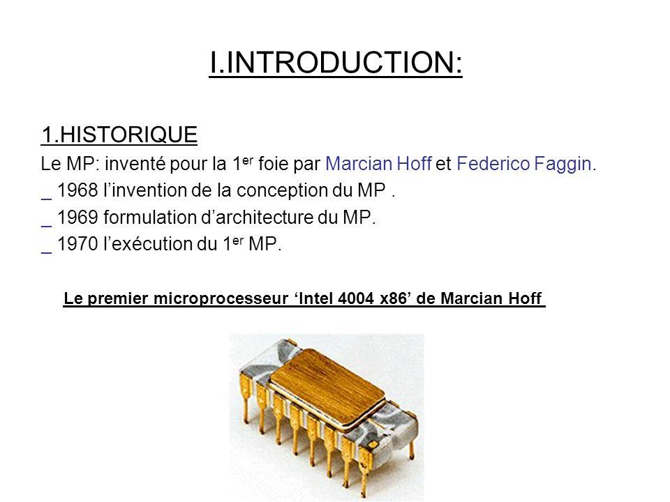Le premier microprocesseur 'Intel 4004 x86' de Marcian Hoff