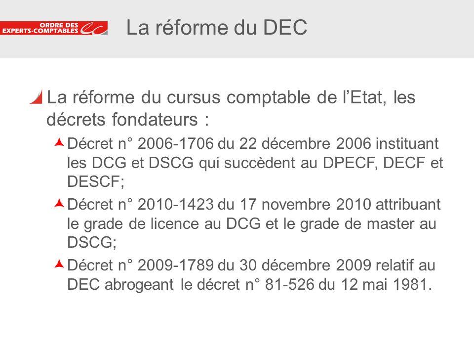 La réforme du DEC La réforme du cursus comptable de l'Etat, les décrets fondateurs :