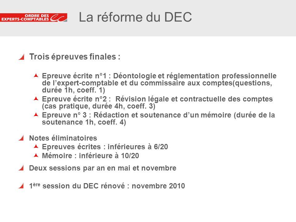 La réforme du DEC Trois épreuves finales :
