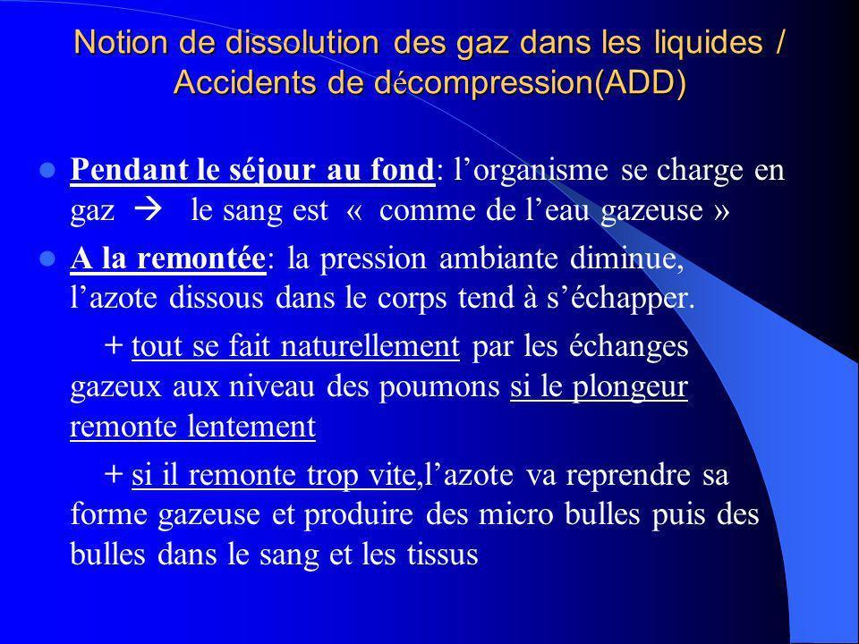 Notion de dissolution des gaz dans les liquides / Accidents de décompression(ADD)