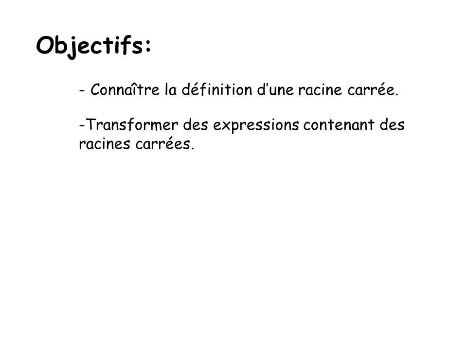 Objectifs: Connaître la définition d'une racine carrée.