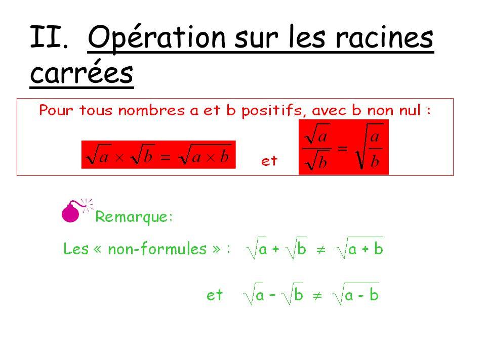 II. Opération sur les racines carrées